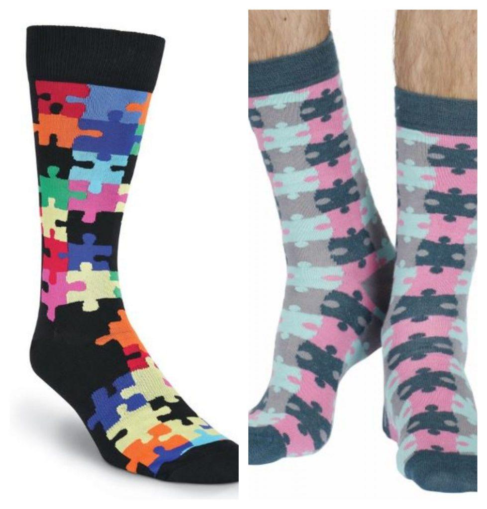 Jigsaw pattern socks