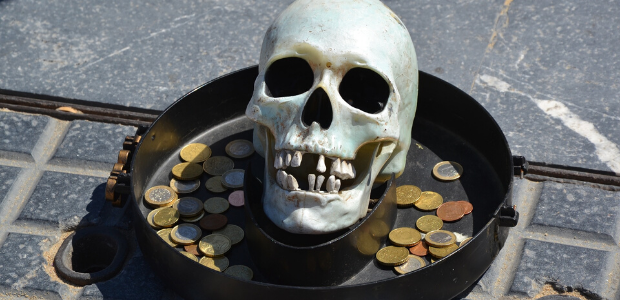 Skeleton with coins