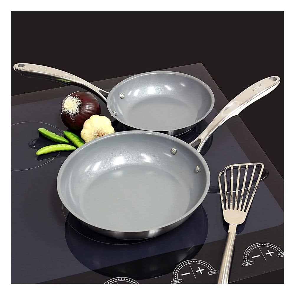 Chantal Steel Induction 21 Fry Pan, 2 piece Set, Ceramic Non Stick